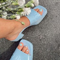 G GG slippers summer new open-toed thick heel mid-heel slippers increase one-word drag and wear sandals Shoes Blue