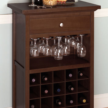 Wine Cabinet with Drawer and Glass Rack