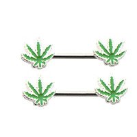 2pcs Nipple Ring 316L Surgical Steel Sexy Maple Leaf Leaves Mamilo Rings Barbell Body Jewelry Nipple Bar ring Piercing for Women