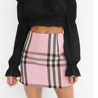 Pink Plaid Mini Skirt