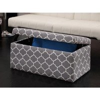 Walmart: Emily Rectangular Storage Ottoman, Grey/White Pattern