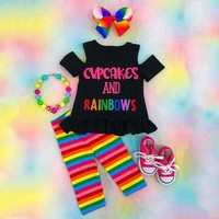 Rainbow Kids Baby Girls Outfits Clothes Off Shoulder T-shirt Top +Long Pants Set