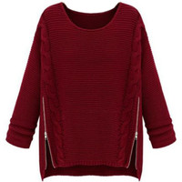 ROMWE | ROMWE Asymmetric Split Zippered Long Sleeves Red Jumper, The Latest Street Fashion