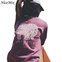 NiceMix Brand New 2016 Summer Ivory Ella T-shirt Women Tops Tee Print Animal Elephant T Shirt Loose Long Sleeve Harajuku Tops