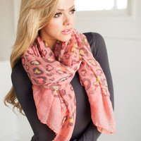Leopard Covered in Spots Colorful Scarf Pink