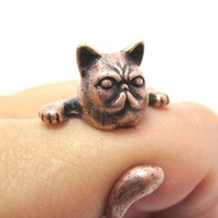 3D Grumpy Kitty Cat With A Moustache Animal Ring in Copper | US Size 3 to 8 from DOTOLY