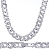 """Jewelry Kay style Men's Hip Hop Heavy Iced Out 15 mm 20"""" Silver Plated Stoned Cuban Chain Necklace"""