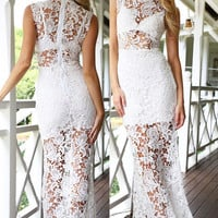 White Floral Lace Overlay Turtle Neck Maxi Dress