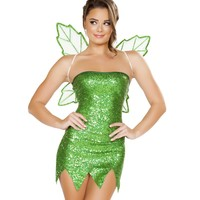 Sequin Tinkerbell Fairy Dress & Wings Costume