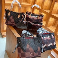 Louis Vuitton LV High Quality Women Shopping Leather Crossbody Satchel Set Two Piece