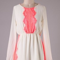 Ivory and Coral Long Sleeve Dress