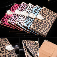 Phone Cases For Samsung Note 5 Sexy Crazy Leopard Bling Diamond Cover Shell For Galaxy Note 5 N920K  Leather Flip Wallet Capa