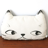 Hand painted Cat Face Pillow