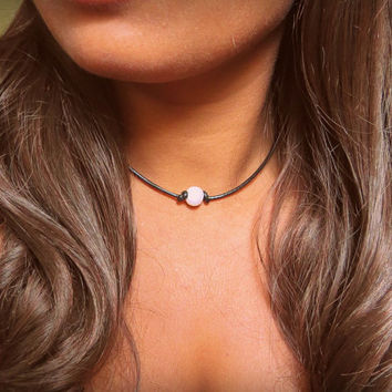 Single pearl Necklace, Large Pearl Choker Necklace, strung on cord, real freshwater pearl, Pearl and Leather Cord Choker