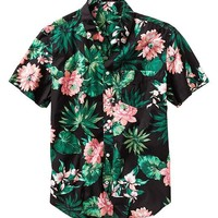 Lived-in wash tropical print shirt