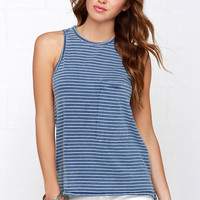Line of Work Ivory and Blue Striped Tank Top