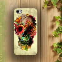 iphone case, i phone 4 4s 5 case, iphone4 iphone4s iphone5 case,stylish plastic rubber silicone cases cover yellow flower floral Skull