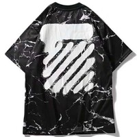 OFF-WHITE 2019 new style brand marble splash ink printing men and women round neck shirt black