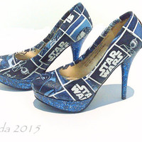 Galaxy Far Far Away Star Wars Pumps-Custom Heels-Wedding shoes-Comic Con-Cosplay-Personalized Heels-Made to Order-Glitter Shoes