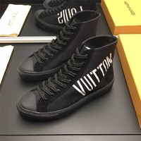 LV Louis Vuitton Men's Suede Leather Fashion High Top Sneakers   Shoes