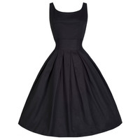 Vintage 50s Dress Hepburn Style Solid Color Bubble Dress   black   S