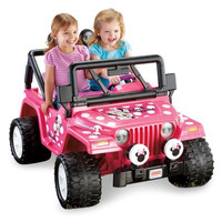 Disney Minnie Mouse Jeep Wrangler 12-Volt ATV Battery-Powered Operated Ride-On Car with Radio