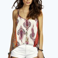Nancy Printed Woven Cross Back Cami