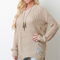 Shredded Loose Knit Long Sleeve Sweater
