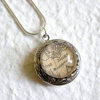 Map of Middle Earth From Lord of The Rings and The Hobbit Locket Necklace - Choose from The Shire, Rivendell, Lorien, Rohan, Gondor, etc
