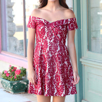 Off Shoulder Lace Shimmer Fit + Flare Dress {Burgundy}