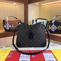 LV Louis Vuitton MONOGRAM CANVAS ODEON MM INCLINED SHOULDER BAG