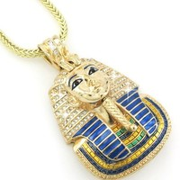 Hip Hop Bling Glod Tone King Tut Pharaoh Pendant