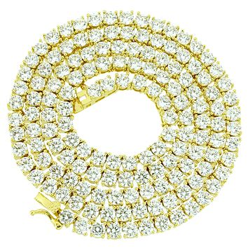"""4mm 18-30"""" 14k Gold Finish Sterling Silver Tennis Chain"""