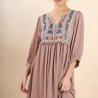 Umgee Latte Embroidered Dress