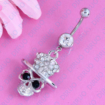 Free shipping Cute Skull Top Hat Clear Gems Dangle Belly Ring Bar Navel Ring 316L 14G  Stainless steel Nickel-free