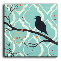 Canvas Wall Art by DiaNoche Designs, Aqua Colored Song Bird