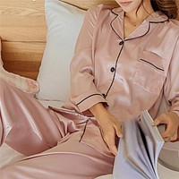 2 Piece Set Loungewear Womens Silk Satin Pajamas Pyjamas Set Long Sleeve Sleepwear