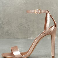 Lacey Rose Gold Leather Ankle Strap Heels