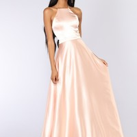 Fascinating Satin Dress - Rose Gold