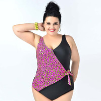 Women's Plus Size One Piece Swimsuit with Leopard Print