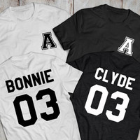 Bonnie and Clyde couples shirts with custom initials on front and custom numbers on back, Available in mutliple colors, UNISEX