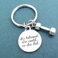 She believed, she could.., so she did, Dumbbell, Silver, Key chain, Workout, Exercise, Weight lose, Health, Key ring, Gift, Accessory