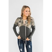 Camo Cutie Lace Up Hoodie- Charcoal & Ivory