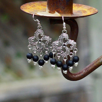 Matte Black Onyx Chandelier Earrings ~ Tibetan Silver Pinwheel ~ Black Stone Jewellery ~ Gothic Wedding ~ Goth ~ Boho Style ~ Silver Dust