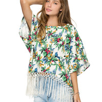 White Tropical Print Flare Sleeves Loose Fitting Blouse with Tassel Hem
