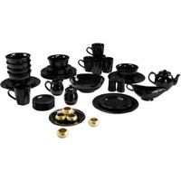 Elegant Microwavable Dishwasher Safe Banquet 45-Piece Round Beaded Dinnerware Serving Set