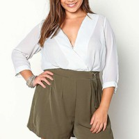PLUS SIZE OLIVE WRAPPED WOVEN ROMPER