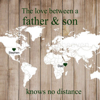Father & Son World Map Rustic Print- father son canvas, fathers day print, deployment map print, military overseas, wooden map print