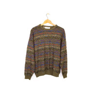 vintage multicolor knit crewneck - 90s grunge lightweight sweater - rainbow + green - long sleeve shirt - geometric pattern - made in italy