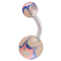 Glitter Ball End Belly Button Ring For Girls [Gauge: 14G - 1.6mm / Length: 8mm] 316L Surgical Steel & Acrylic (Pink) (BHPG06)